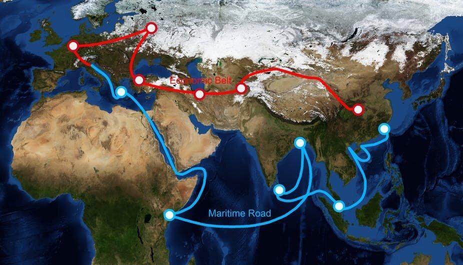 Nowy Jedwabny Szlak Pasa i Drogi mapa ogólna